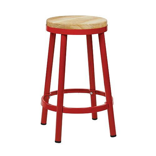 "Bristow 26"" Barstool with Wood Seat, Red"