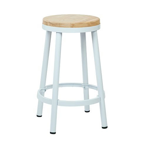 "Bristow 26"" Barstool with Wood Seat, White"