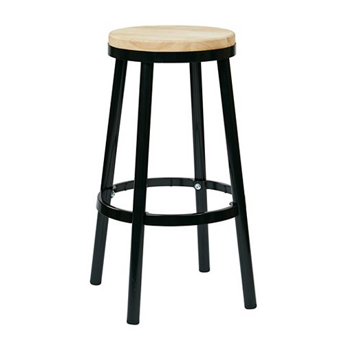 "Bristow 30"" Barstool with Wood Seat, Black"