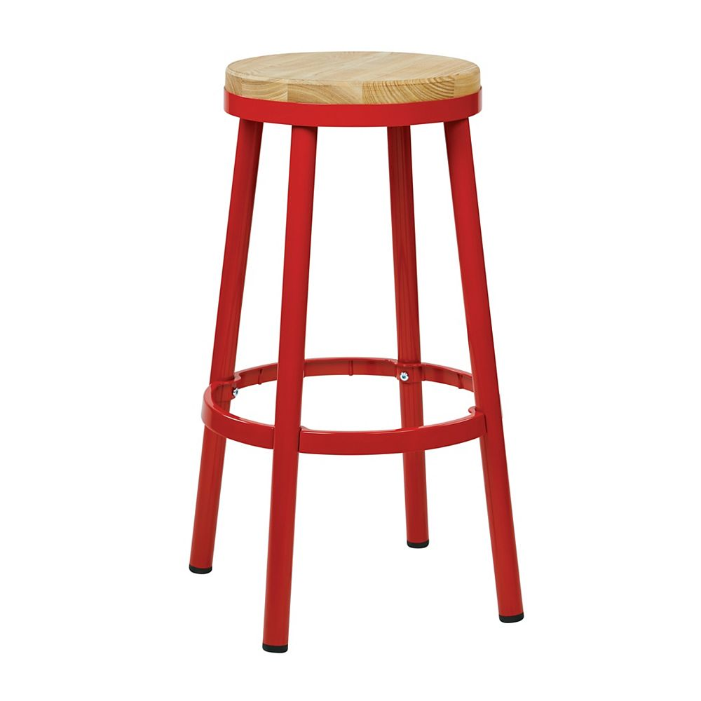 """OSP Designs Bristow 30"""" Barstool with Wood Seat, Red"""