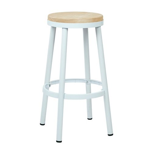 "Bristow 30"" Barstool with Wood Seat, White"