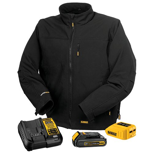 DEWALT 12V/20V Max Black Heated Work Jacket W/ Battery Kit - L