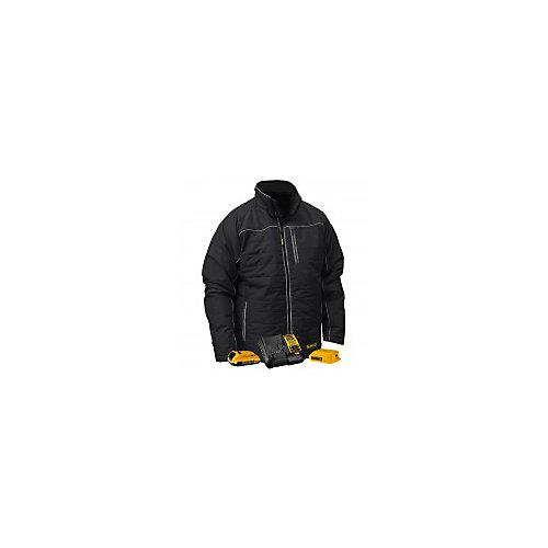 12V/20V MAX Black Mens Quilted/Heated Jacket w/ Batt Kit-L