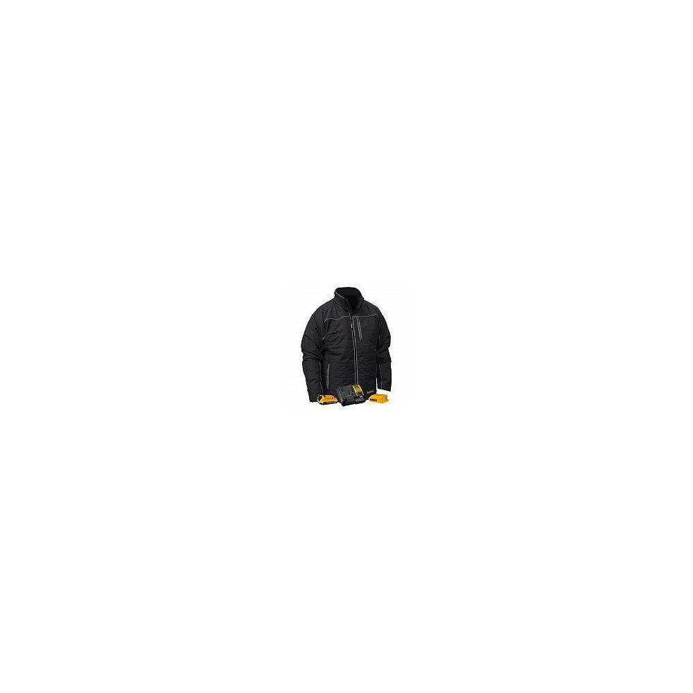 DEWALT 12V/20V MAX Black Mens Quilted/Heated Jacket w/ Batt Kit-L