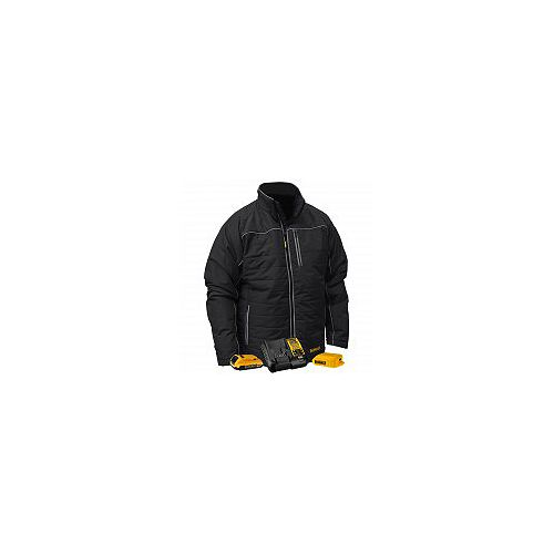 12V/20V MAX Black Mens Quilted/Heated Jacket w/ Batt Kit-L