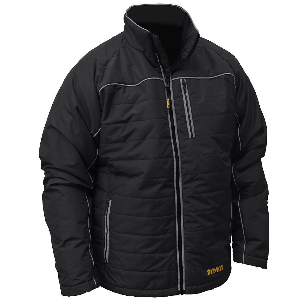DEWALT 12V/20V MAX Black Mens Quilted/Heated Jacket w/ Batt Kit-XL