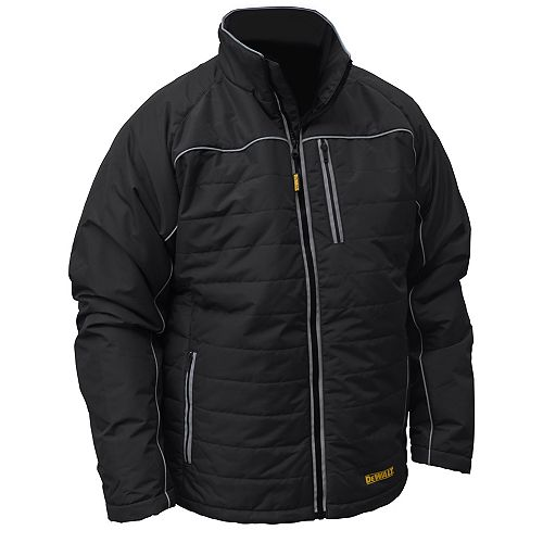 12V/20V MAX Black Mens Quilted/Heated Jacket w/ Batt Kit-XL