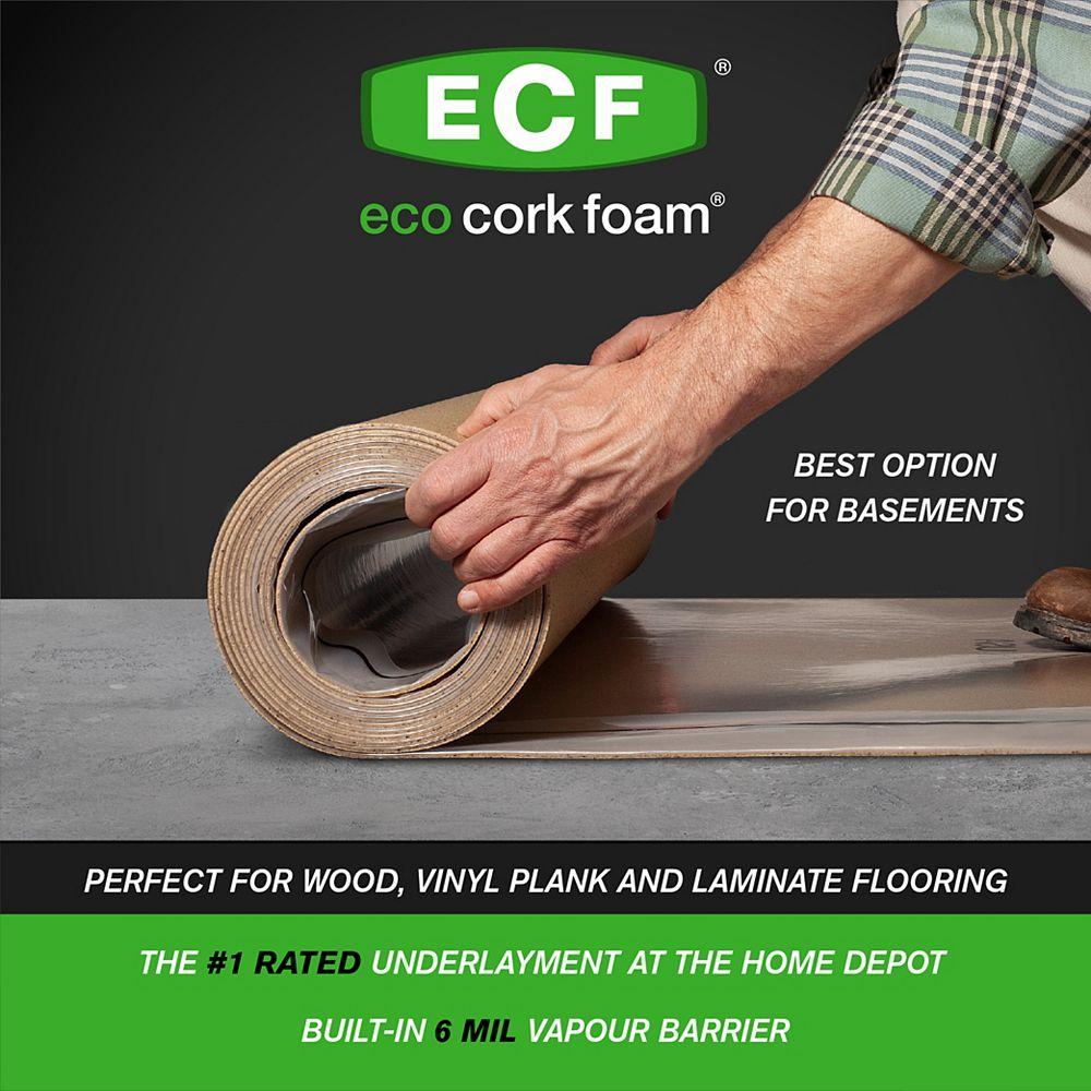 Eco Cork Foam 100 sq. ft. 40 in. x 30 ft. x 3.2 mm Waterproof Premium Plus Underlayment - Vinyl Plank, Laminate, Hardwood, Engineered Wood Floors
