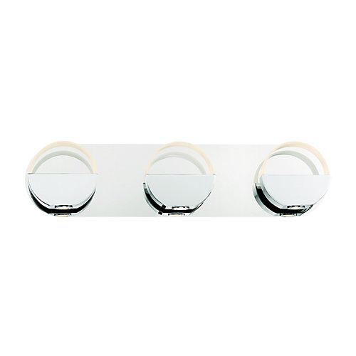 Applique de salle de bains chromée, 3ampoules DEL intégrées