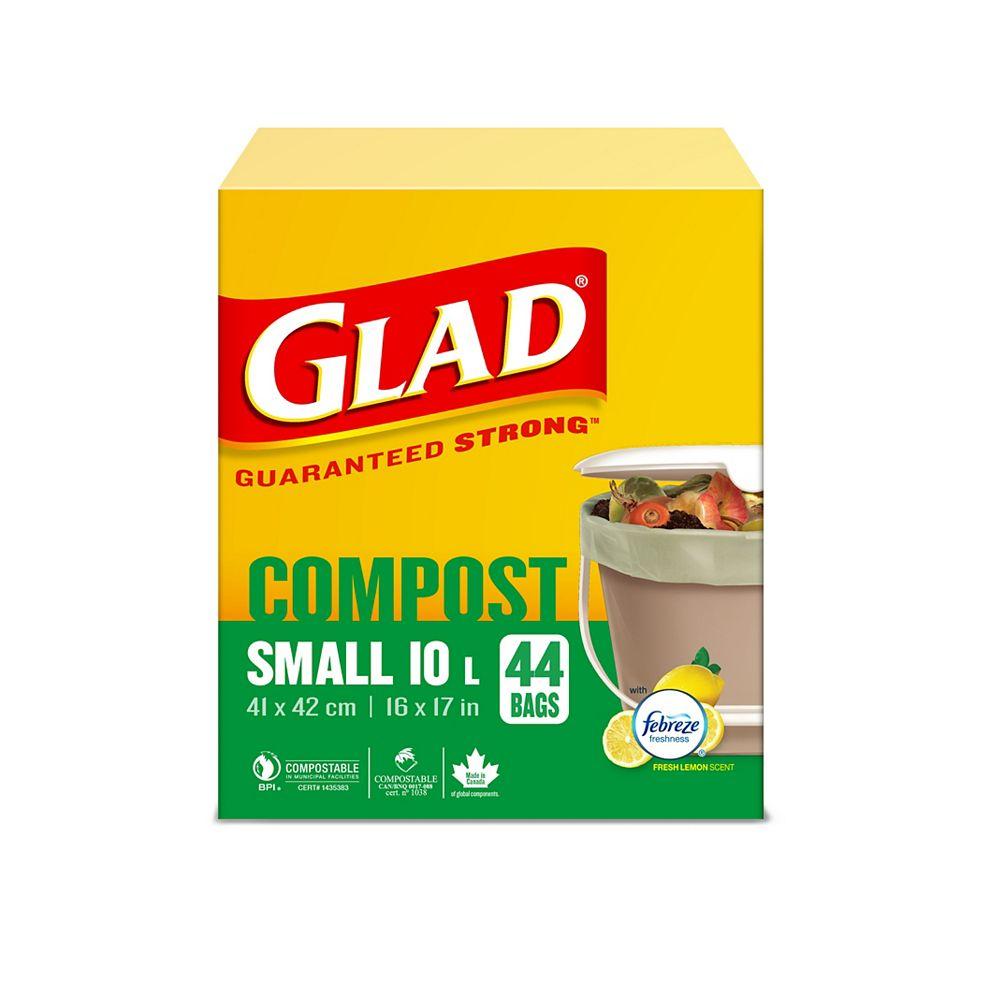 Glad Petits sacs 100% compostables de au parfum de citron frais, boîte de 44 petits sacs de 10 L