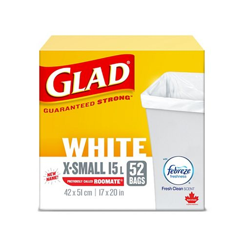 Glad 15 L White Garbage Bags- X-Small with Febreze Fresh Clean Scent (52 Trash Bags)