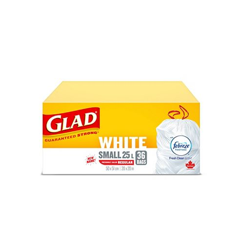 Glad 25 L Small Fresh Clean Scent White Garbage Bags with Drawstring (36-Count)