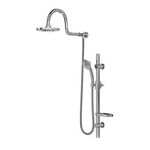 Aqua 3-Spray Handshower and Showerhead Combo Kit with Wall Bar Shower Kit in Chrome Finish