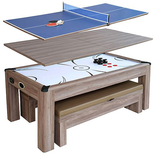 Table d'Air Hockey Driftwood de 2,13 m (7 pi) avec bancs