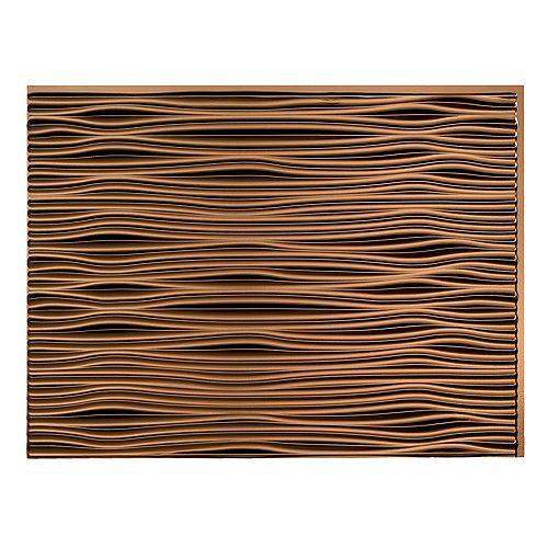 Fasade Waves Oil-Rubbed Bronze  18 inch x 24 inch PVC Backsplash Panel