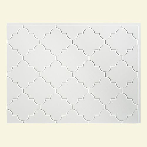 Fasade Monaco Gloss White  18 inch x 24 inch PVC Backsplash Panel