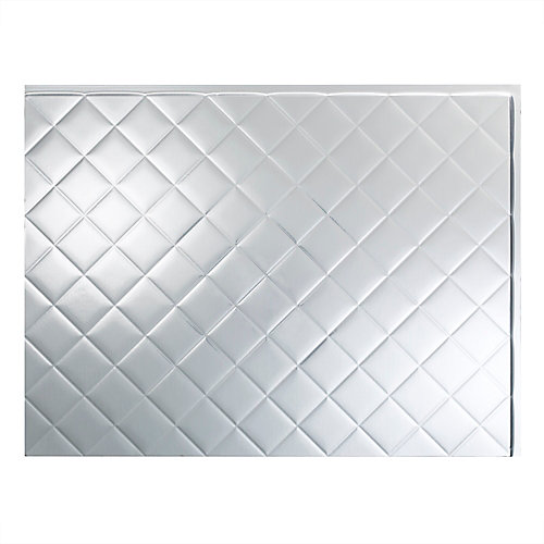 Quilted Brushed Aluminum  18 inch x 24 inch PVC Backsplash Panel