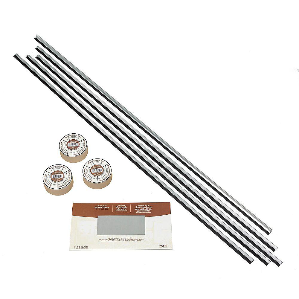 Fasade Aluminium Brossé Ens. d'accessoires assortis avec bande adhésive et recouvrement de plaques