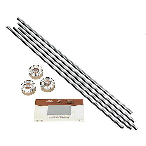 Aluminium Brossé Ens. d'accessoires assortis avec bande adhésive et recouvrement de plaques