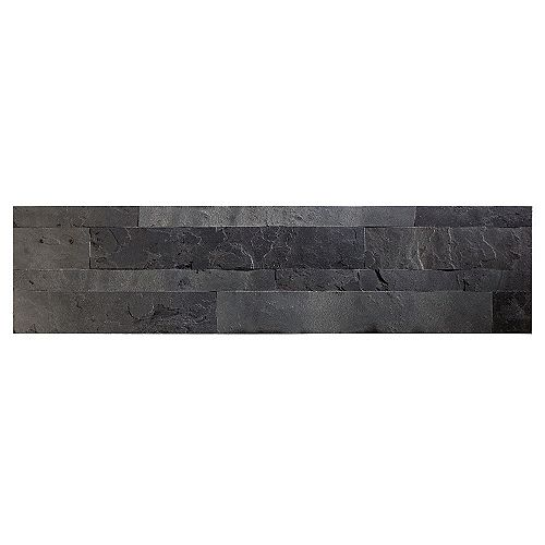 "Charcoal Slate - 1-Piece- 5.9"""" x 23.6"""" Peel and Stick Stone Backsplash Tile"