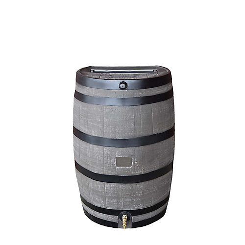 Flat Back 50 USG Rain Barrel with Brass Spigot in Woodgrain