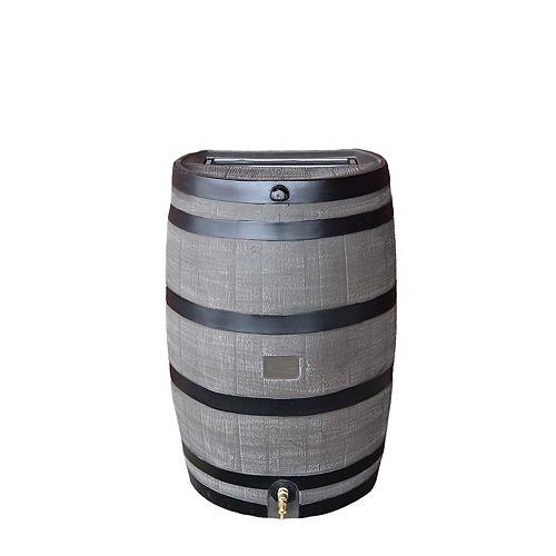 Baril de pluie à dos plat 50 USG avec robinet en laiton et fini grain de bois