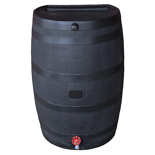 Flat Back 50 USG ECO Rain Barrel with Plastic Spigot in Black