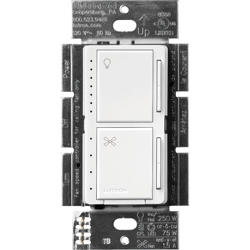 Lutron Maestro Commandes de ventilateur et de gradateur pour DEL à intensité variable, unipolaires, blanc