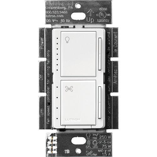 Maestro Commandes de ventilateur et de gradateur pour DEL à intensité variable, unipolaires, blanc