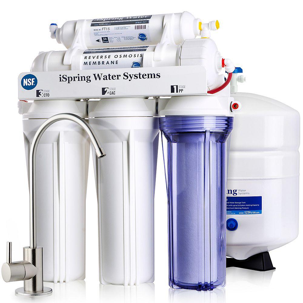 iSpring RCC7 Système de filtration d'eau potable à osmose inverse à 5 étages - 75 GPD