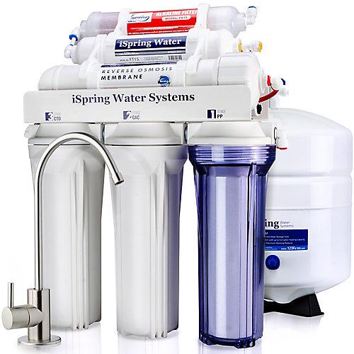 6-Stage Superb Taste High Capacity Under Under Sink Reverse Osmosis Drinking Water Filter System with Alkaline Remineralization - Natural pH, White