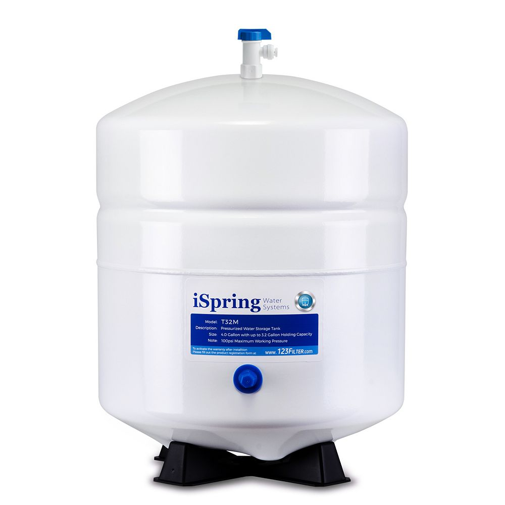 iSpring T32M 3.2 Gallon Pressurized Storage Tank for Reverse Osmosis (RO) Systems