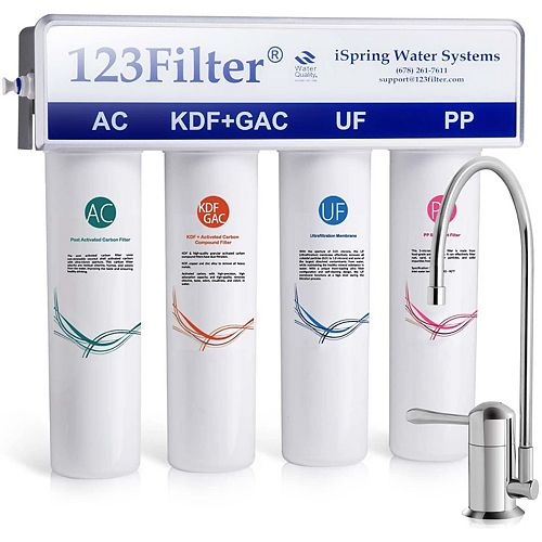 CU-A4 4-Stage Ultra Filtration Water System w/Sediment, UF, KDF, &Activated Carbon Filtration