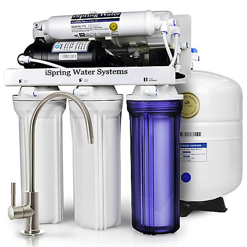 RCC7P Performance-boosted Under Sink 5-Stage Reverse Osmosis Drinking Water Filtration System with Pump and Ultimate Water Softener