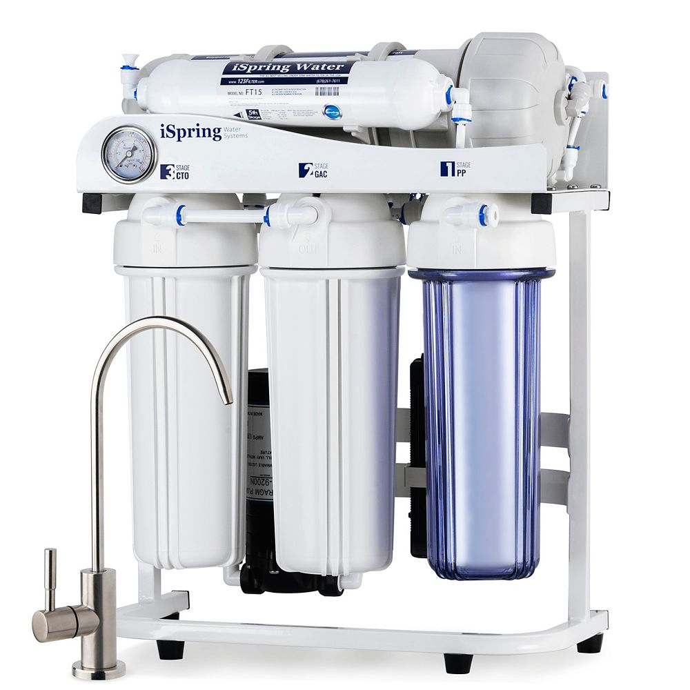 iSpring RCS5T 500 GPD Commercial Grade Tankless Reverse Osmosis Filtration System w/ 1:1 Drain Ratio