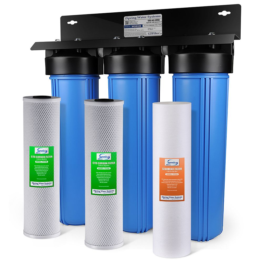 iSpring WGB32B 3-Stage Whole House Filtration System w/ 20 Inch Big Blue Sediment & Carbon Block Filters