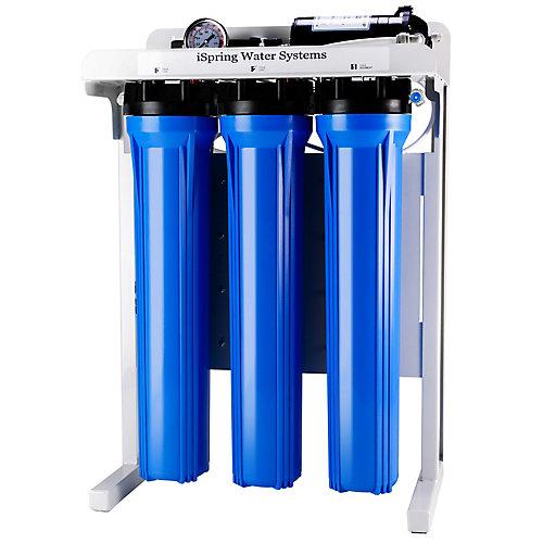 RCB3P 300 GPD Système de filtre à osmose inverse, pompe de surpression, filtres surdimensionnés