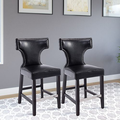 Corliving Kings Counter Height Barstool in Black with Metal Studs (Set of 2)