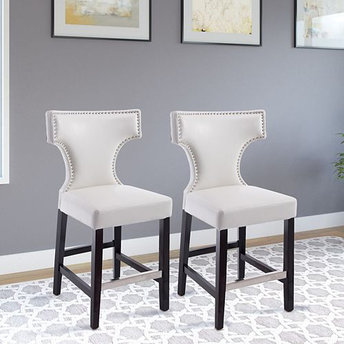 Kings Counter Height Barstool in White with Metal Studs (Set of 2)