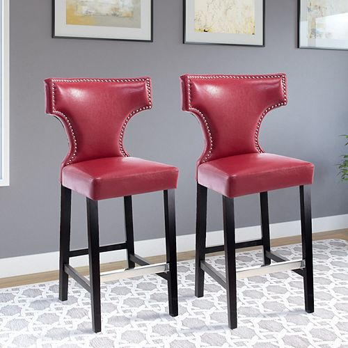 Kings Bar Height Barstool in Red with Metal Studs (Set of 2)