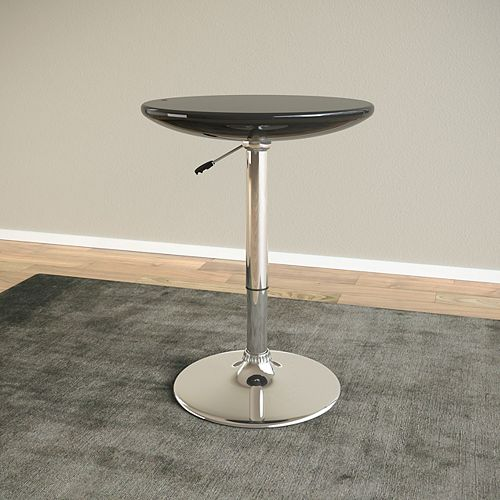 Adjustable Height Round Bar Table in Glossy Black