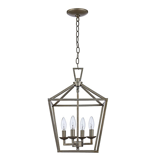 Lacey 4-Light Pendant Light Fixture in Antique Silver Leaf