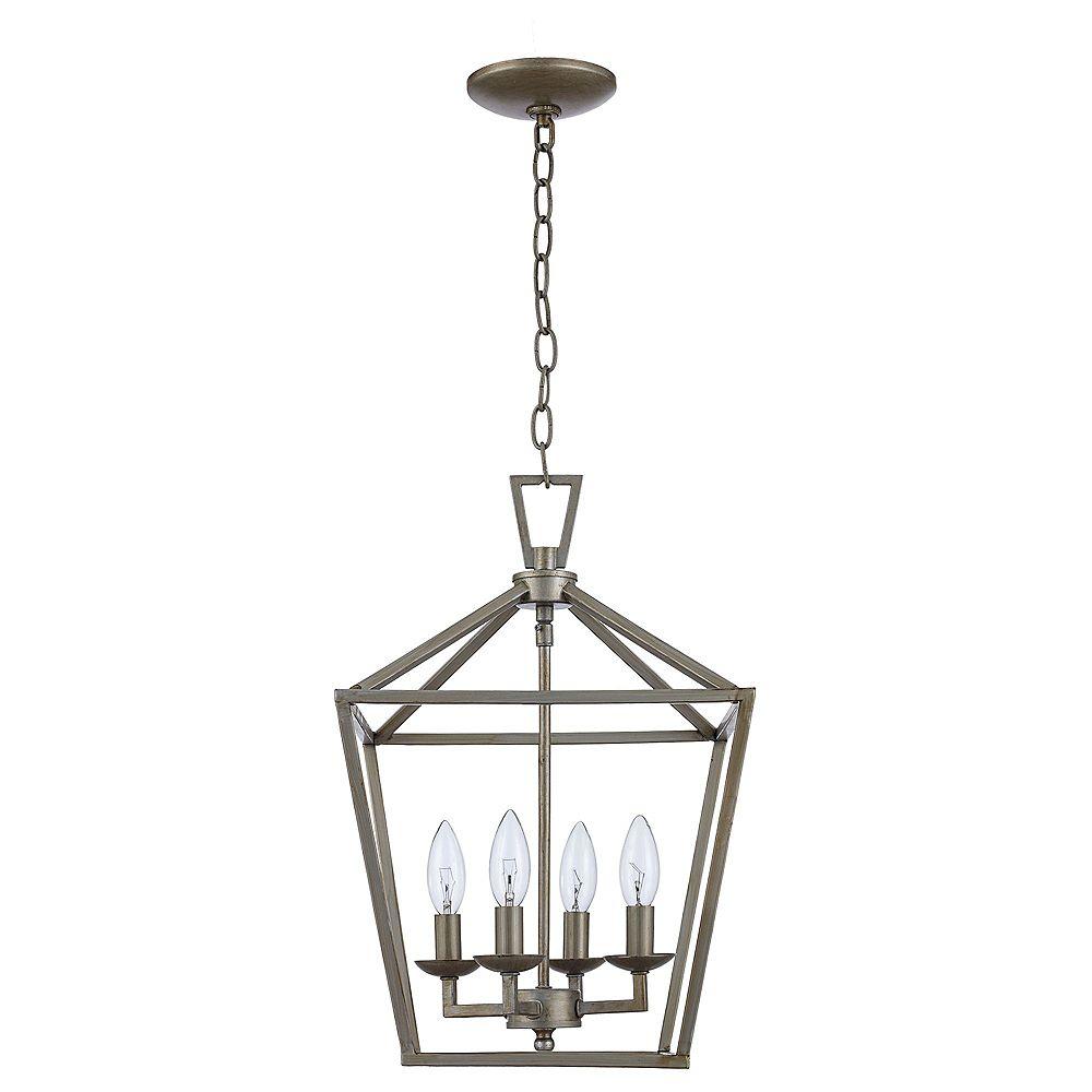 Bel Air Lighting Luminaire suspendu Lacey à 4 ampoules, feuille d'argent antique