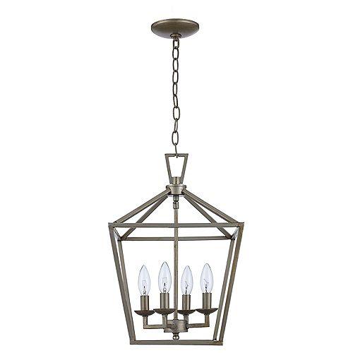 Luminaire suspendu Lacey à 4 ampoules, feuille d'argent antique