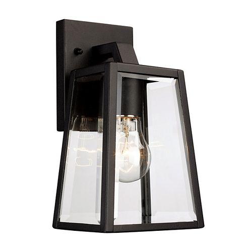 Obsidian 1-Light Black Wall Lantern