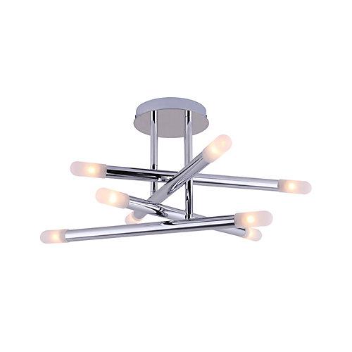 STAVROS plafonnier à huit lumières au fini chrome avec verre givré