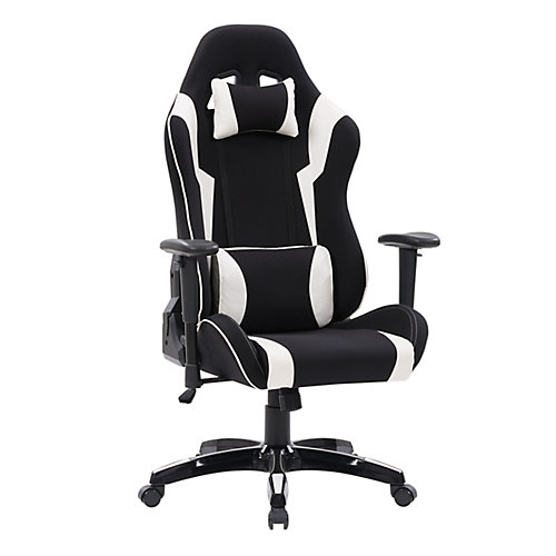 Black and White High Back Ergonomic Gaming Chair, Height Adjustable Arms