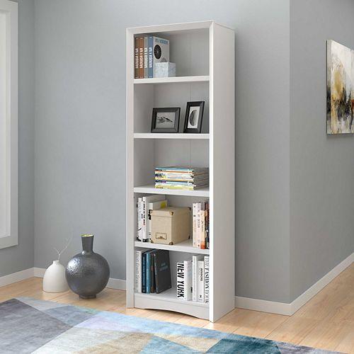 Quadra 71-inch Tall Bookcase in White Faux Woodgrain Finish