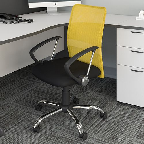 Workspace Office Chair with Contoured Yellow Mesh Back