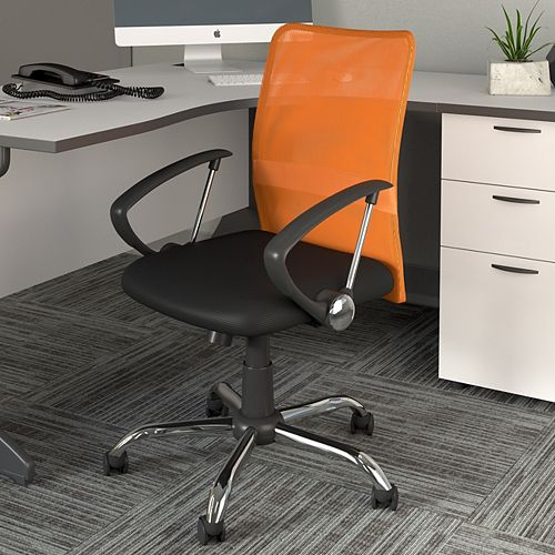 Corliving Workspace Office Chair with Contoured Orange Mesh Back